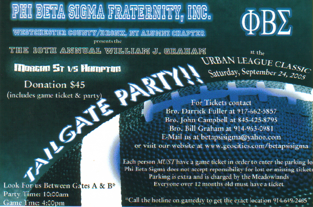 Phi Beta Sigma Fraternity Tailgate Party